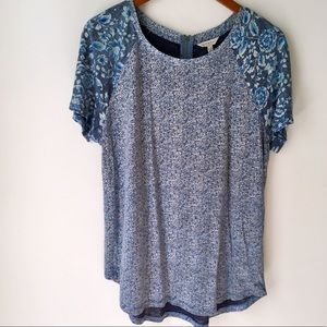 Lucky Brand Mixed Print Floral Tee